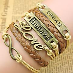 voordelige -Unisex Armbanden met ketting en sluiting / Wikkelarmbanden / Vintage Armbanden - Leder Liefde Inspirerend, Initial Armbanden Gouden Voor Kerstcadeaus / Feest / Dagelijks / Lederen armbanden