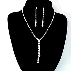 Women's Wedding Bridal Clear Crystal Rhinestone Drop Necklace Earrings Jewelry Set Gift