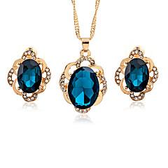 baratos Conjuntos de Bijuteria-Mulheres Cristal Geométrica Conjunto de jóias - Cristal, Zircão Asiático, Fashion Incluir Preto / Azul Escuro Para Encontro Escritório e Carreira / Brincos