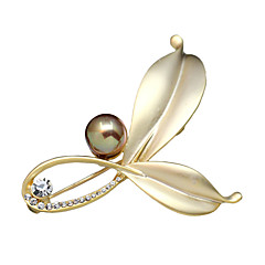 cheap Pins and Brooches-Women's Brooches Imitation Pearl Crystal Jewelry For Party Daily Casual