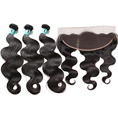billiga Peruker och hårförlängning-3 paket med stängning Brasilianskt hår Kroppsvågor Obehandlad hår Hår Inslag med Stängning 8-26 tum Hårförlängning av äkta hår 4x13 Stängning Mjuk / 4a Människohår förlängningar