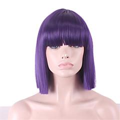 billiga Peruker och hårförlängning-Syntetiska peruker Dam Rak / Yaki Lila Bob-frisyr / Med lugg Syntetiskt hår Med Bangs Lila Peruk Utan lock Purpur