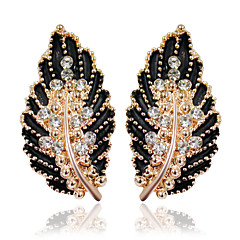 cheap Earrings-Women's 1 Drop Earrings Fashion Alloy Leaf Jewelry White Black Green Pink Wedding Party Costume Jewelry