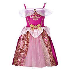 billige Pigekjoler-Børn Pige Rosette / Pænt tøj I-byen-tøj Trykt mønster Kortærmet Bomuld / Polyester Kjole Vin