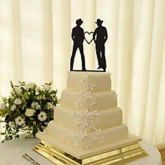 billige Kakedekorasjoner-Kakepynt Klassisk Tema Samme Kjønn Akryl Bryllup med Blomst 1 Gaveeske