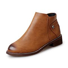 Χαμηλού Κόστους Ξεπούλημα Παπουτσιών-Γυναικεία παπούτσια-Μπότες-Γραφείο & Δουλειά Καθημερινό-Επίπεδο Τακούνι-Μποτίνι-PU-Μαύρο Καφέ