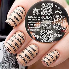 olcso -újszülött szép bp76 ábécé téma köröm sajtolás sablon képe lemez