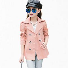 billige Jakker og frakker til piger-Pige Pænt tøj Daglig Ensfarvet Langærmet Normal Normal Bomuld Trenchcoat Rød