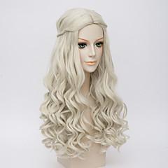 お買い得  人工毛ウィッグ-人工毛ウィッグ ウェーブ 密度 女性用 白 コスプレ用ウィッグ ロング 非常に長いです 合成