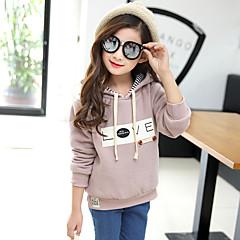 billige Hættetrøjer og sweatshirts til piger-Børn Pige Blomster Trykt mønster Langærmet Hættetrøje og sweatshirt