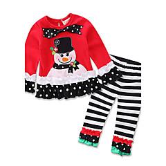 billige Tøjsæt til piger-Baby Pige Fest Trykt mønster Langærmet Bomuld Tøjsæt Rød