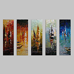 tanie Sztuka ścienna-Ręcznie malowane Krajobraz Brezentowy Hang-Malowane obraz olejny Dekoracja domowa Pięć paneli