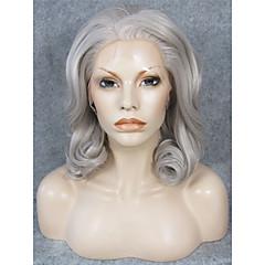 billiga Peruker och hårförlängning-Syntetiska peruker Lockigt Syntetiskt hår Naturlig hårlinje Grå Peruk Dam Mellan Spetsfront