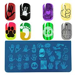 olcso -A tenyér ujjlenyomat minta manikűr nyomólemez láb négyszögletes sablon minőségű kék film lemez