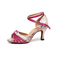 Mulheres Sapatos de Dança Latina Couro Sandália Presilha Salto Agulha Personalizável Sapatos de Dança Pêssego / Interior / Profissional