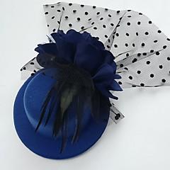 チュールフェザーファブリックの魅力帽子のヘッドピースクラシックな女性的なスタイル