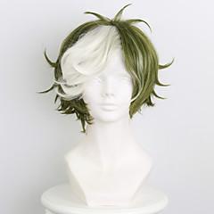 billiga Peruker och hårförlängning-Syntetiska peruker / Kostymperuker Herr / Dam Rak Syntetiskt hår Peruk Korta Utan lock Grön