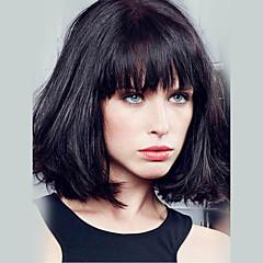 billige Lågløs-Kvinder Human Hair Capless Parykker Jet Sort Medium Rødbrun Medium kastanjebrun / Afblevet blond Beige Blond // Afbleget Blond Kort Glat