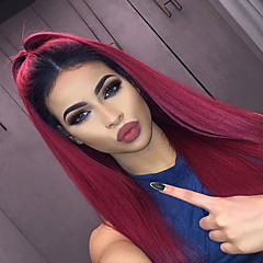cheap Wigs & Hair Pieces-Synthetic Lace Front Wig Straight African American Wig Middle Part Natural Hairline Dark Roots Ombre Hair Red Women's Lace Front Carnival