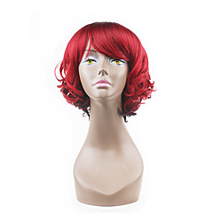 billiga Peruker och hårförlängning-Syntetiska peruker Vågigt Med lugg Syntetiskt hår Röd Peruk Dam Capless peruker Utan lock