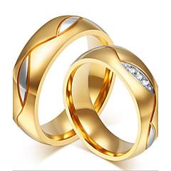 男性用 女性 カップルリング ラインストーン 高級ジュエリー ファッション 愛らしいです あり ステンレス鋼 ラインストーン ゴールドメッキ 18K 金 ジュエリー 用途 結婚式 パーティー 日常 カジュアル