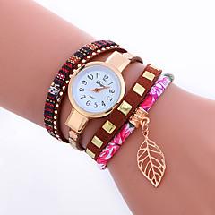 Women's Fashion Watch Wrist watch Bracelet Watch Punk Colorful Quartz PU BandVintage Sparkle Leaves Stripe Candy color Bohemian Charm