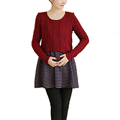 billiga Mammakläder-Dam Enkel Bomull Byxor - Enfärgad Röd / Mini