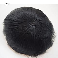 billiga Peruker och hårförlängning-Äkta hår Tupéer Rak 100 % handbundet Monofilament