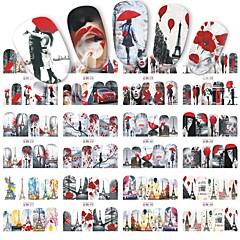 baratos -1sheet, 12designs Nail Art Sticker Decalques de transferência de água maquiagem Cosméticos Prego Design Arte