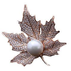 billige Motebrosjer-Dame Nåler - Perle Gull, Sølv