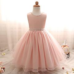 tanie Odzież dla dziewczynek-Dla dziewczynek Elegancka odzież Wyjściowe Solidne kolory Bez rękawów Sukienka
