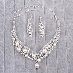 Women's Imitation Pearl Rhinestone Wedding 1 Necklace 1 Pair of Earrings