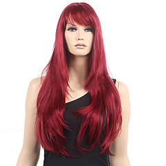 cheap Wigs & Hair Pieces-Synthetic Wig Women's Wavy Red With Bangs Synthetic Hair Heat Resistant Red Wig Long Monofilament / L Part / Half Capless Dark Wine