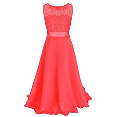 tanie Odzież dla dziewczynek-Dzieci Dla dziewczynek Impreza Solidne kolory Koronka Bez rękawów Maxi Sukienka