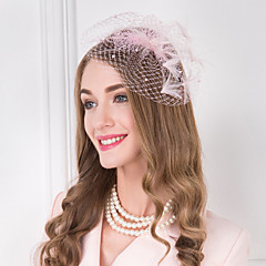 成人用 羽毛 人造真珠 ネット かぶと-結婚式 パーティー カジュアル ヘッドバンド ヘッドドレス 1個
