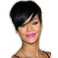 billige Lågløs-Human Hair Capless Parykker Menneskehår Lige Klassisk Bob frisure Med babyhår Med bangs / pandehår Natural Hairline Høj kvalitet