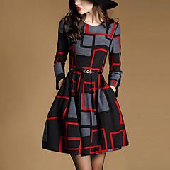女性用 日常 ストリートファッション Aライン 膝上 ドレス,幾何学模様 長袖 ラウンドネック 冬 春 秋