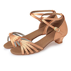 Latin Shoes Satin Heel Ribbon Tie Chunky Heel Non Customizable Dance Shoes Dark Brown / Blue / Nude / Indoor / Leather