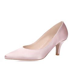 Dame-Silke-StiletthælHøye hæler-Bryllup Friluft Kontor og arbeid Formell Fritid Fest/aften-Hvit Svart Rød Lys Rosa Marineblå