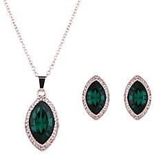 baratos Conjuntos de Bijuteria-Mulheres Esmeralda Sintética Conjunto de jóias - Cristal Incluir Verde Para Casamento / Festa / Diário / Colares