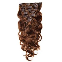 levne Příčesky z pravých vlasů-Připínací Rozšíření lidský vlas Přírodní vlasy Vlnité Dámské Denní