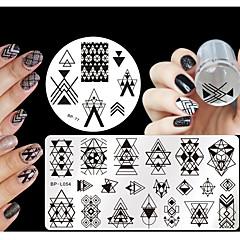 billige Neglestempling-4 Stamping Kit stempling Plate Stamper & Scraper Nail Stamping Template Daglig Mote Høy kvalitet