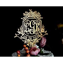 Taarttoppers Gepersonaliseerd Klassiek Koppel Monogram hars acryl Chroom Bruiloft Trouwdag Bruidsshower GeelTuin Thema Bloemen Thema