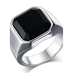 男性用 ステートメントリング 指輪 オニキス ファッション コスチュームジュエリー ステンレス鋼 メノウ ジュエリー 用途 日常 カジュアル