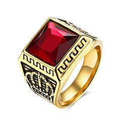 Herre Ring Personalisert Europeisk kostyme smykker Rustfritt Stål Titanium Stål Glass Krone Formet Smykker Til Fest Daglig Avslappet