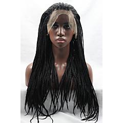 tanie Peruki syntetyczne-Syntetyczne koronkowe peruki Falisty Z baby hair Afrykańskie warkocze Peruka pleciona Naturalna linia włosów Czarny Damskie Koronkowy