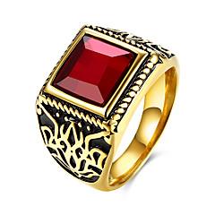Heren Ring Modieus Europees Kostuum juwelen Roestvast staal Titanium Staal Glas Rechthoekige vorm Geometrische vorm Sieraden Voor Feest