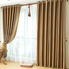 abordables Habillage de Fenêtres-Tringle oeillets Onglet supérieur Plis double Deux Panneaux Le traitement de fenêtre Néoclassique, Relief Couleur Pleine Chambre à coucher