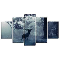 cheap Wall Art-Print Stretched Canvas Prints - Animals Modern Five Panels