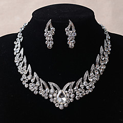 Jewelry 1 Necklace 1 Pair of Earrings Wedding Party Daily Casual Crystal Alloy Rhinestone 1set Women Silver Wedding Gifts